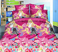 Детское постельное белье для девочек Барби, подростковый комплект (бязь)