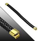 Черный кожаный плетеный браслет с магнитным замком 316, фото 2
