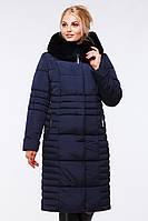 Зимнее стильное пальто полуприталенного фасона с меховым воротником