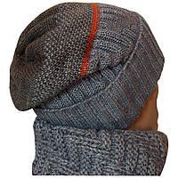 Вязаная мужская шапка - носок  с норвежским орнаментом, комбинированной расцветки
