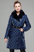 Оригинальное стеганое пальто приталенного силуэта Айлин  с мехом мутон