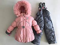 Зимний комбинезон костюм комплект для девочки Снежинка пинк