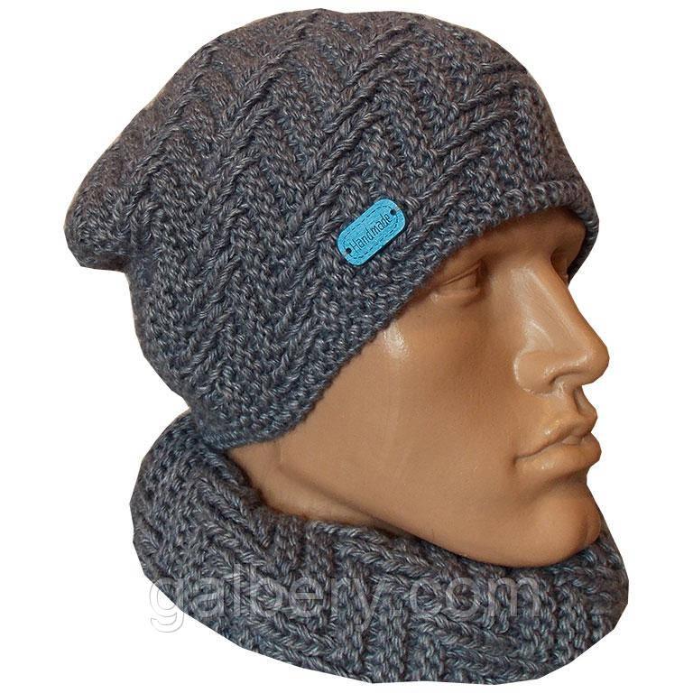 мужская вязаная шапка носок объемной ручной вязки цена 320 грн