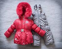 Зимний комбинезон костюм комплект для девочки Снежинка красный