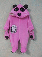 Комбинезон Панда с рукавичками, размер 40, вельсофт