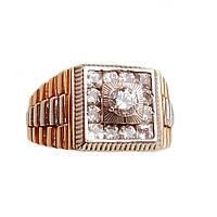 Золотой мужской перстень с фианитом 20.0
