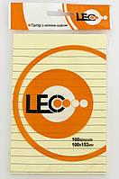 Бумага с липким слоем 100*152мм желт. 100л линия L1222 170184 Leo