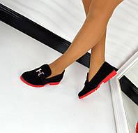 Женские стильные замшевые туфли на красной подовшве, 36-40р.
