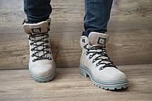Мужские зимние ботинки Shark кожаные,оливковые., фото 2