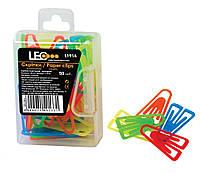 Скрепки пластиковые 25 мм. цветные 50 штук L1914 ТМ LEO