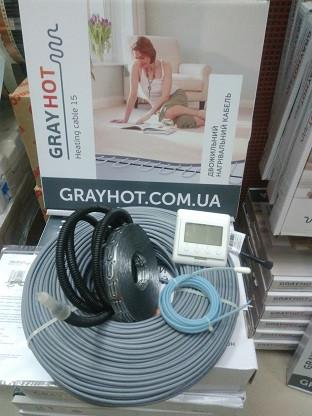 11m2 нагрівальний кабель на 11,5 м. кв GrayHot + регулятор (двожильний кабель 115м для теплої підлоги)