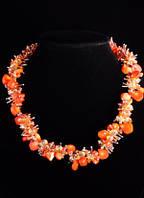 Шикарное колье с натуральным оранжевым кораллом от студии LadyStyle.Biz