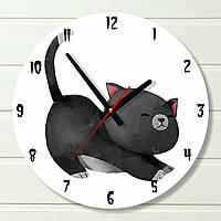 """Часы в детскую - """"Черный кот"""" (на пластике)"""