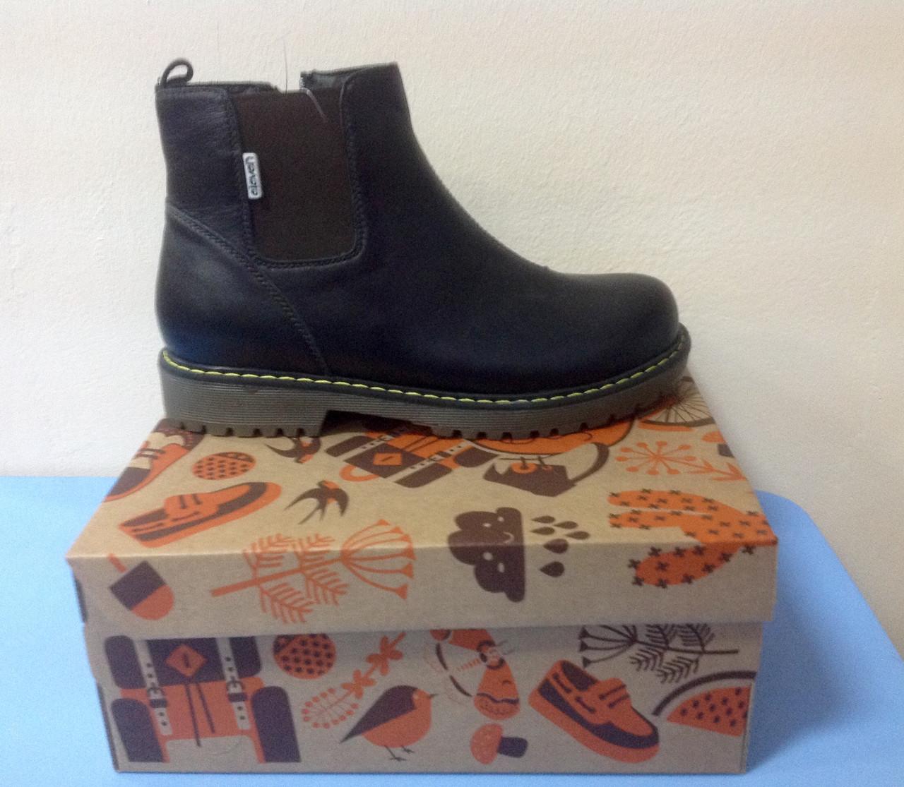 Ботинки демисезонные кожаные черные