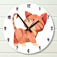 """Часы в детскую - """"Рыжий Кот"""" (на пластике)"""