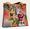 Удобная женская сумочка, из натуральной кожи с ручной росписью