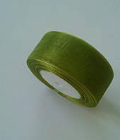 Лента флористическая из органзы 4 см зеленый 50 ярд., фото 1