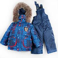 Зимний комбинезон костюм комплект для мальчика Самолетик красный