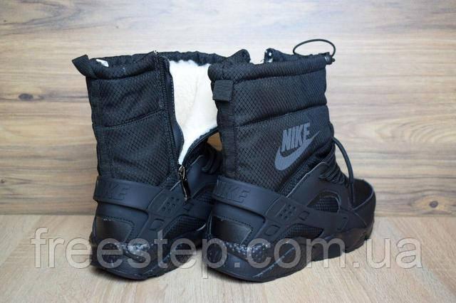 15cc2b86 Женские зимние сапоги в стиле Nike Huarache черные кожа мех овчина ...