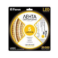 Лента светодиодная Feron LS604/ SANAN LED-RL 60SMD(3528)/m 4.8W/m 12V 5m*8*0.22mm  белый теплый IP65