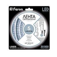 Лента светодиодная Feron LS606/ SANAN LED-RL 30SMD(5050)/m 7,2W/m 12V 5m*8*0.22mm белый IP20