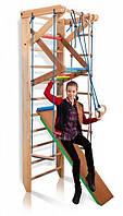 Спортивный уголок «Baby 3-240» для ребенка из дерева (шведская стенка, турник, канат, кольца, трапеция) ТМ SportBaby