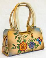 Компактная женская сумочка из натуральной кожи с ручной росписью, фото 1