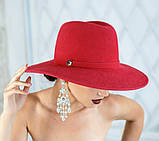 Шляпа из фетра мужского стиля цвет ярко синий поля 10 см, фото 2