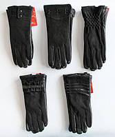 Интересные, модные, чёрные женские перчатки из натуральной кожи и замши