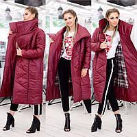 Плащ-пальто женское на синтепоне Лайк бордовое
