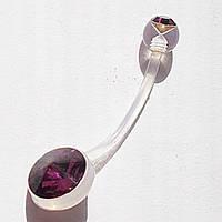 Серьга в пупок для беременных (длина штанги 20 мм) с фиолетовыми кристаллами. Прозрачный биофлекс.