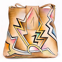 Удобная женская сумочка из натуральной кожи с ручной росписью
