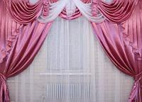Ламбрекен 3 м и шторы в комплекте цвет розовый
