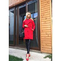 Пальто женское кашемировое осеннее MODNO красное,верхняя одежда женская