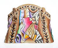 Яркая женская сумочка из натуральной кожи с ручной росписью, фото 1