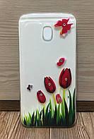 Силиконовый чехол для Samsung J530 (J5-2017) (Tulips)