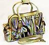 Жіноча сумка-саквояж, з натуральної шкіри з ручним розписом