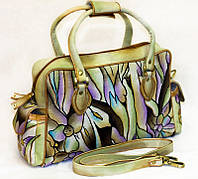 Женская сумка-саквояж, из натуральной кожи с ручной росписью