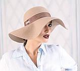 Женская фетровая шляпа цвет темно серый, фото 2