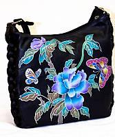Жіноча шкіряна сумка, чорна з ручним розписом, фото 1