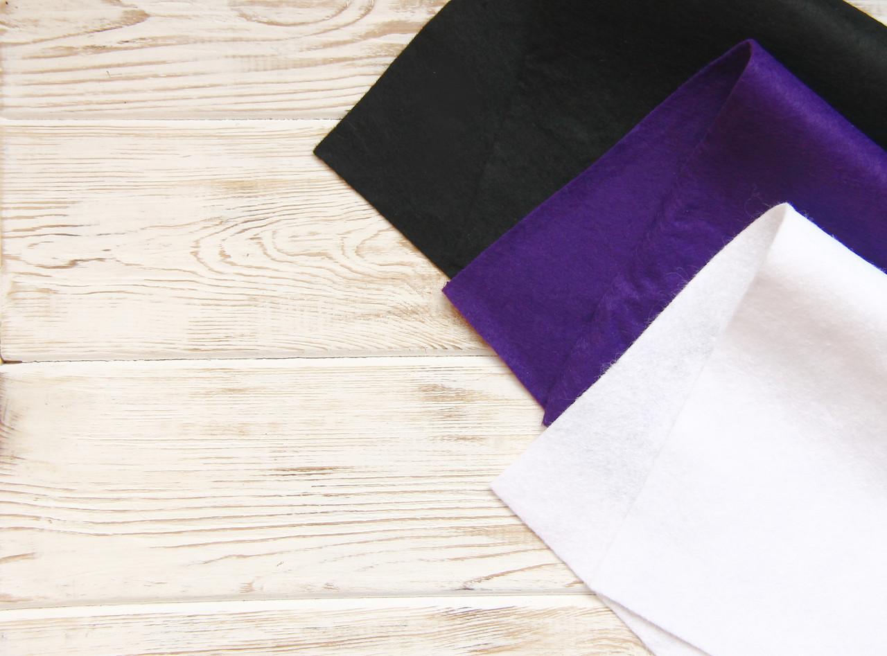Фетр листовой 20*30см, мягкий (1,5мм толщина), HEYDA (Германия)100% вискоза, темный фиолет