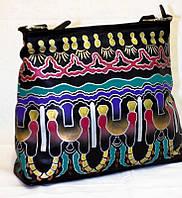 """Женская кожаная сумка """"Фантазия"""", черная с ручной росписью , фото 1"""