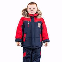 Зимний комбинезон костюм комплект для мальчика Сине-красный