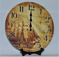 """Часы настенные в морском стиле """"Парусник"""" (34 см) из МДФ"""