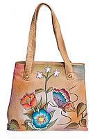 Удобная женская сумочка, из натуральной кожи с ручной росписью, фото 1