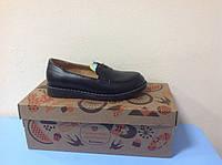 Туфли-лоферы  черные из натуральной кожи