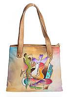 Зручна жіноча сумочка, з натуральної шкіри з ручним розписом, фото 1