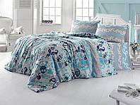 Постельное белье двуспальное евро LightHouse бязь голд FLOWER голубой 8698-01_2.0LH