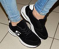 Кроссовки женские Skechers Черные замшевые