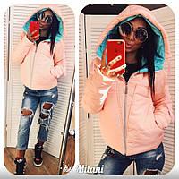 Куртка женская красивая двухцветная 2584 зима (пудра)